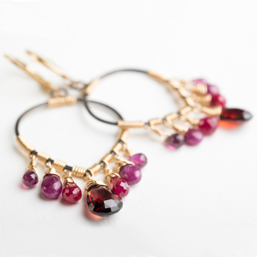 Thea Medium Hoops w/ Ruby & Garnet in Gold & Silver