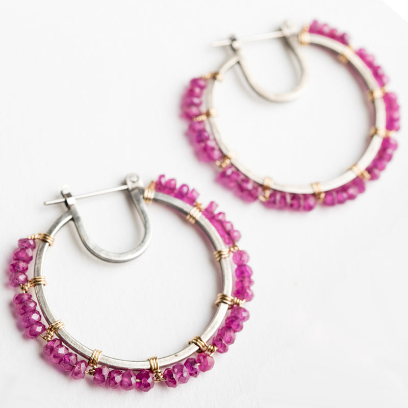 Eris Ruby Hoop Earrings in Silver & Gold-filled
