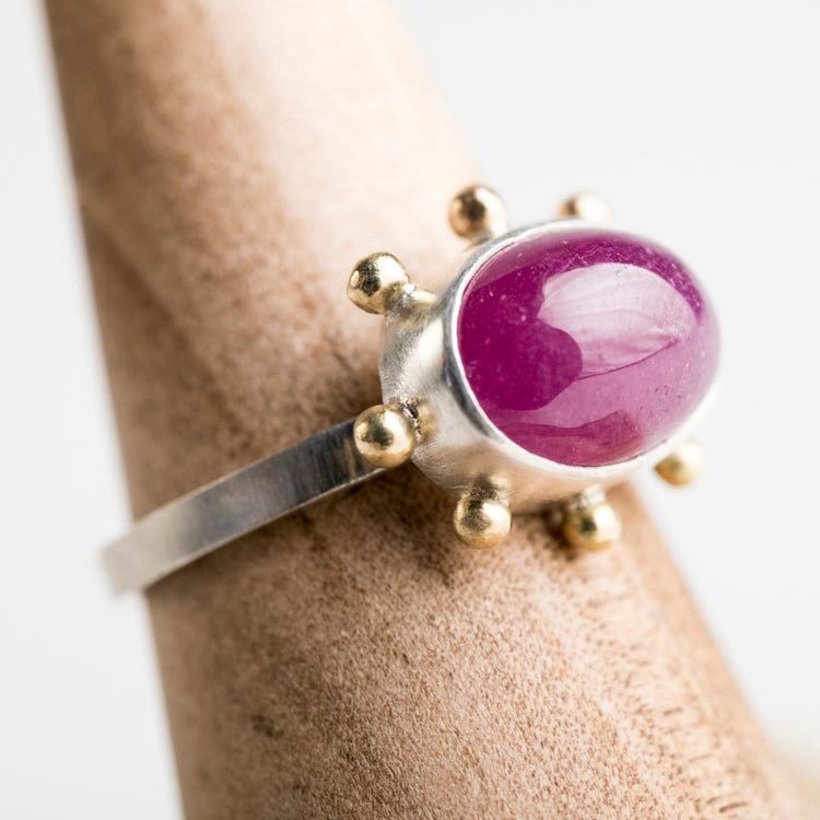 Hailey Pink Sapphire Ring in Silver w/ Gold Granule Halo