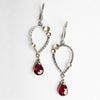 Galena Garnet Dangle Earrings in Silver w/ Gold Accents