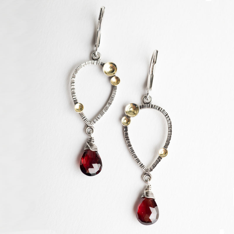 Galena Garnet Dangle Earrings in Silver w/ Gold Accents - Made to Order