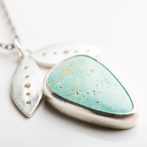 Foxglove Turquoise Pendant in Silver