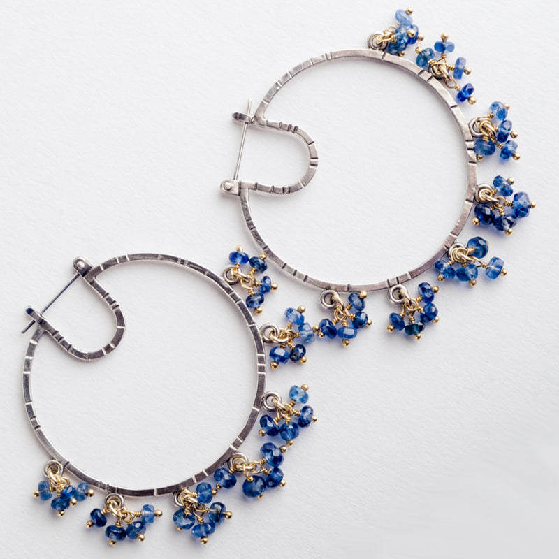 Kendall Kyanite Hoop Earrings w/ Dangles