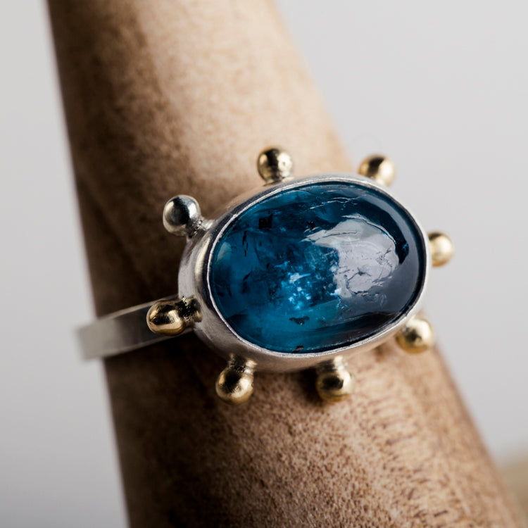 Hailey Teal Kyanite Ring in Silver w/ Gold Granule Halo