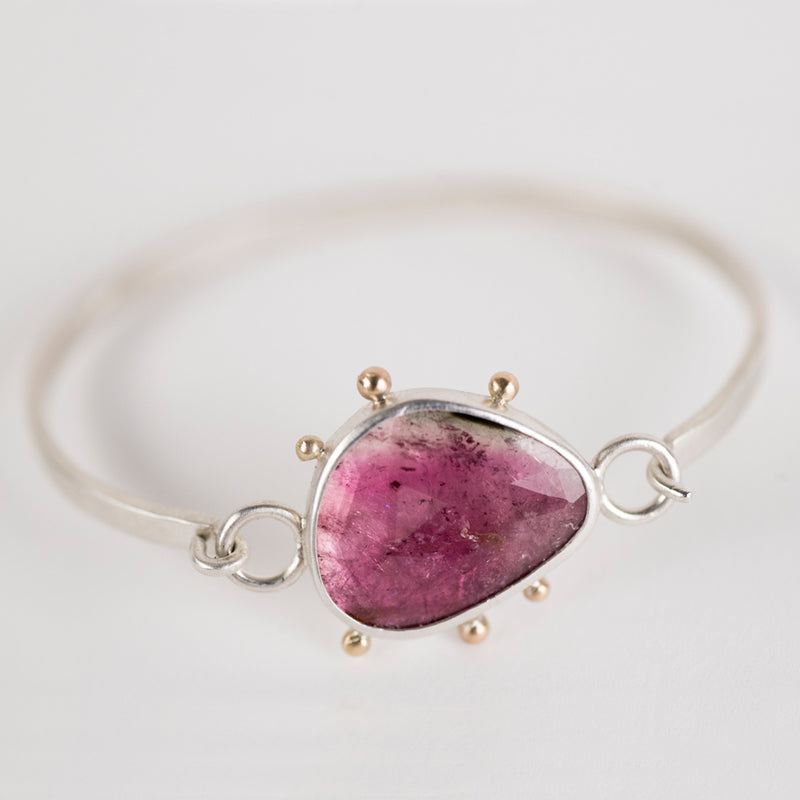 Chiron Watermelon Tourmaline Tension Cuff in Silver & 14k Gold