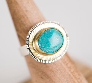 Paris White Water Turquoise Ring in 18k Gold & Silver, US 6