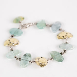 Pico Aquamarine Pebble & Atoll Bracelet in 18k Gold & Silver