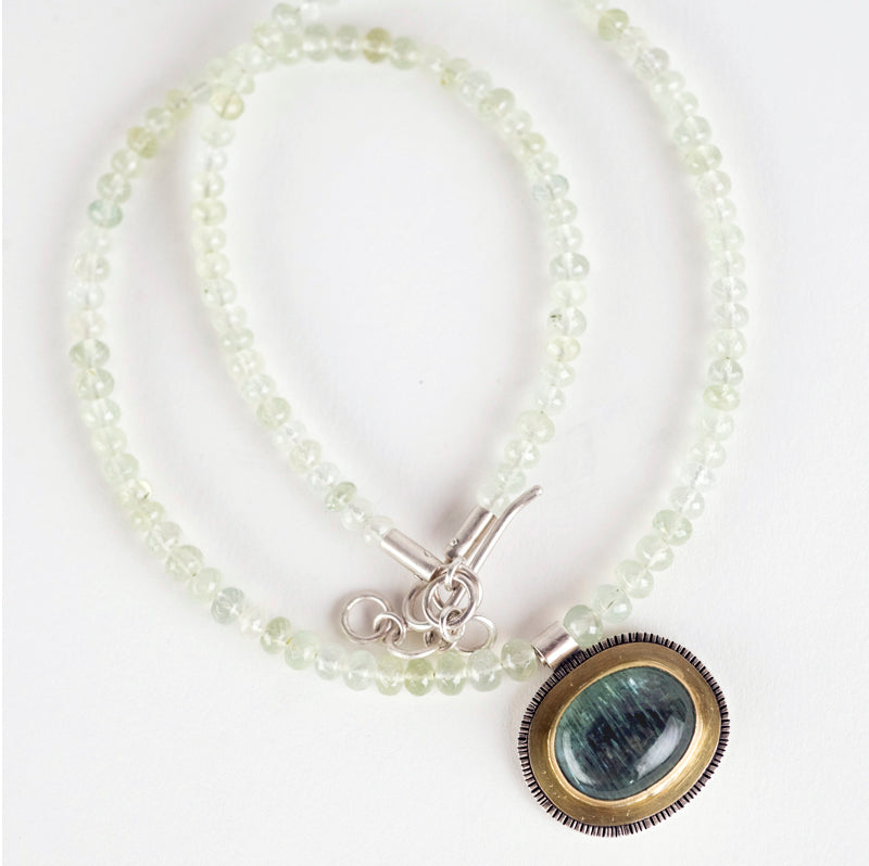 Paris Moss Aquamarine & Prehnite Pendant on Gemstone Strand