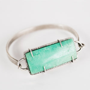 Nairobi Chrysoprase Tension Cuff in Oxidized Silver