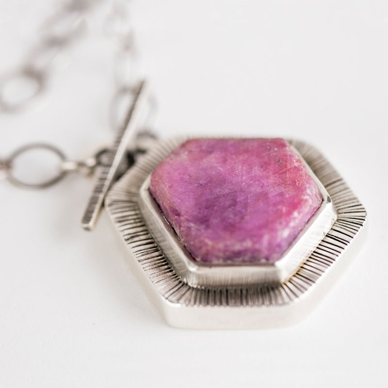 Cairo Raw Ruby Toggle Necklace in Silver