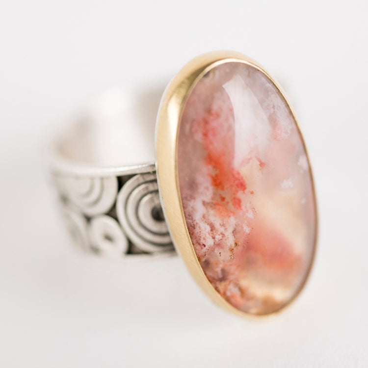 Majorca Regency Plume Agate Ring in 18k Gold & Silver-Size 7 1/2