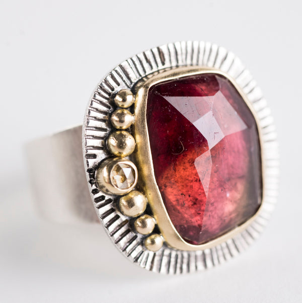 Leda Red Tourmaline & Champagne Diamond Ring - size 7 1/2