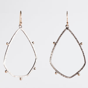 Orion Textured Teardrop Hoops in 14k Gold & Silver, Medium