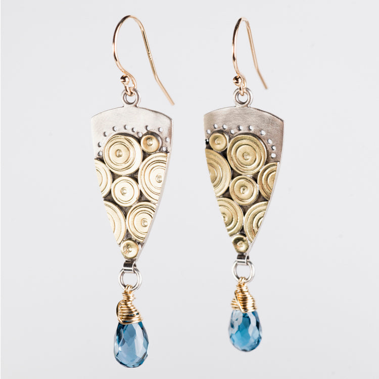 Caicos London Blue Topaz Dangles in Gold & Silver
