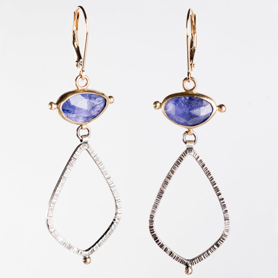 Astraea Tanzanite Small Dangle Earrings in Gold & Silver