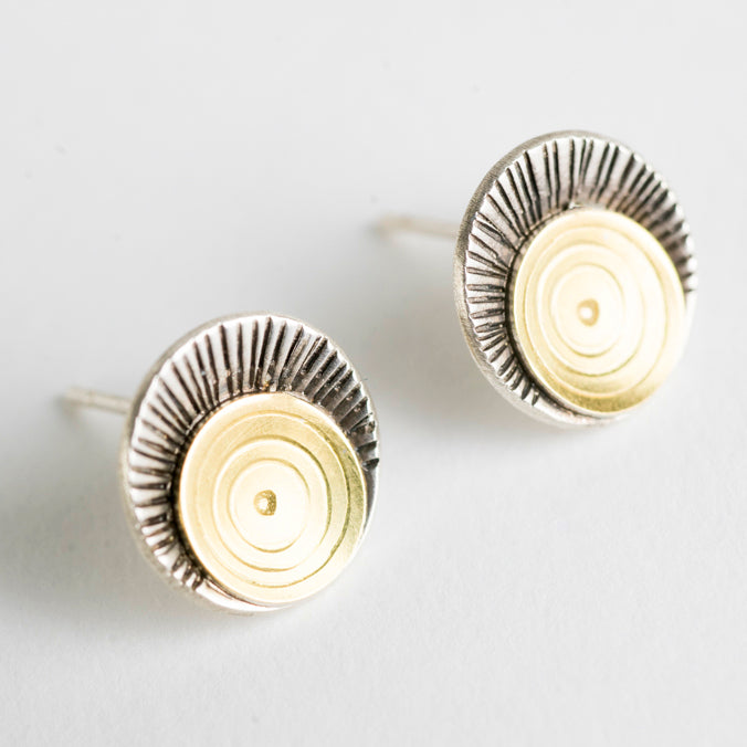 Iona Sunburst Post Earrings, 18k Gold & Silver