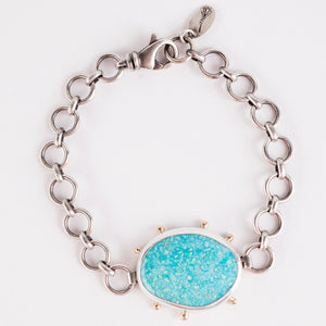 Ceres Turquoise Mountain Bracelet in Silver & 14k Gold
