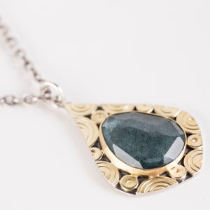 Mustique Moss Aquamarine Drop Pendant in 18k Gold & Silver
