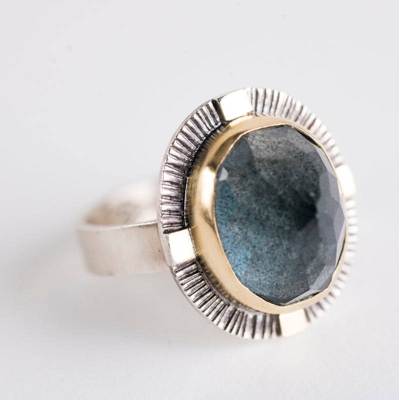 Sendai Moss Aquamarine Ring in 18k Gold & Oxidized Silver (US 8),