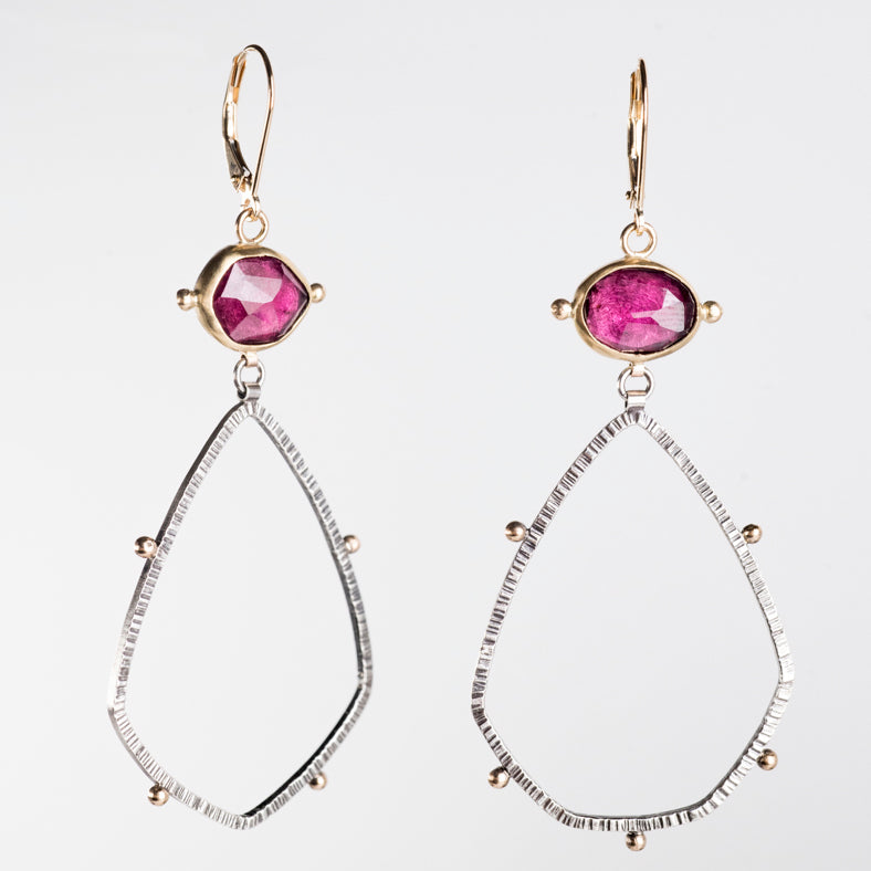 Astraea Rhodolite Garnet Earrings in 18k, 14k Gold & Silver