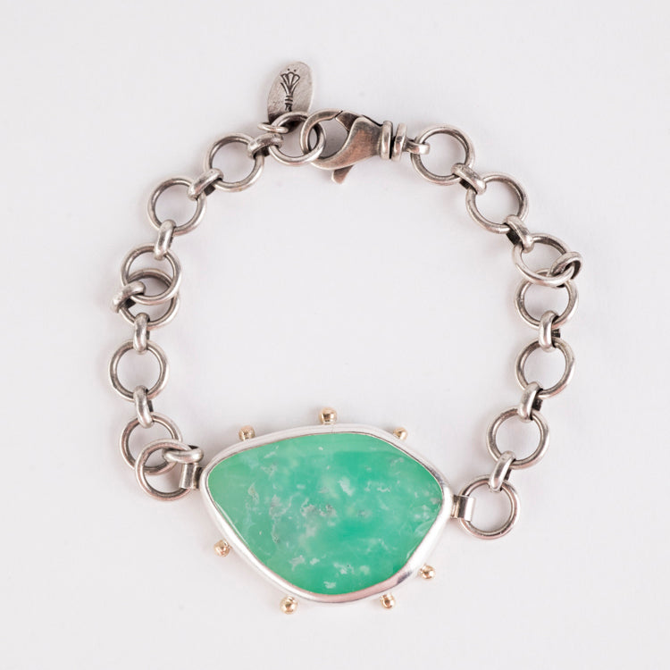 Ceres Chrysoprase Bracelet in Silver & 14k Gold