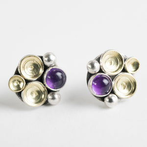Ahti Amethyst Seascape Earrings in Gold & Silver