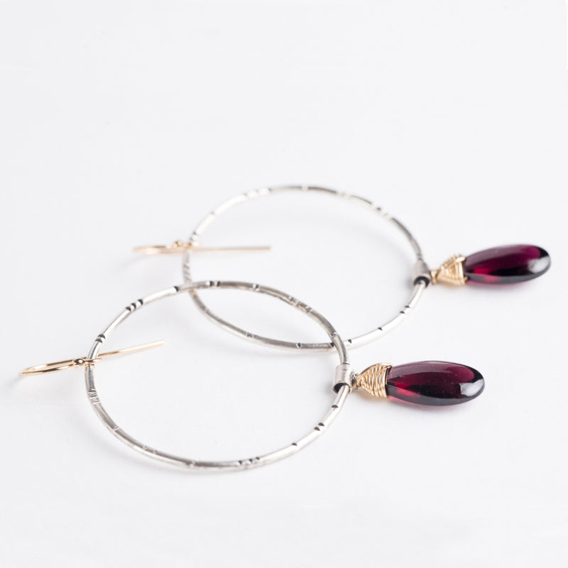 Lyra Garnet Earrings in 14k Gold & Silver