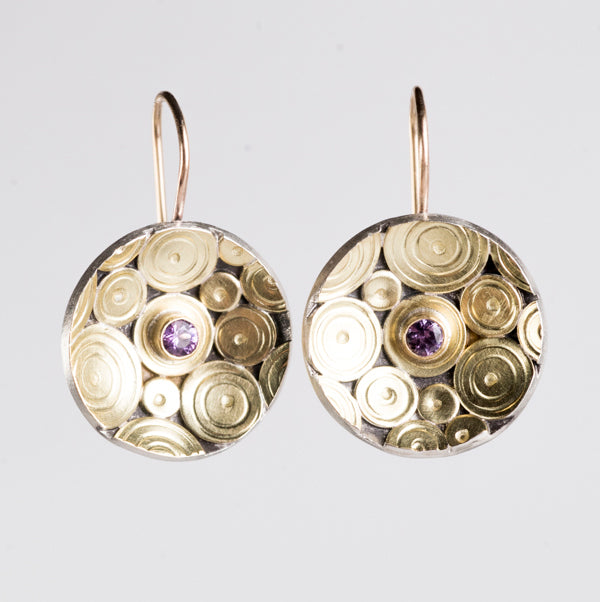 Shiomi Lavender Sapphire Earrings in 18k Gold & Silver