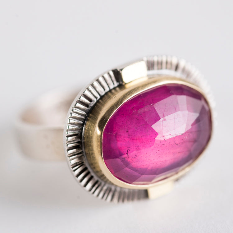 Sendai Pink Sapphire Ring in 18k Gold & Silver - size 7