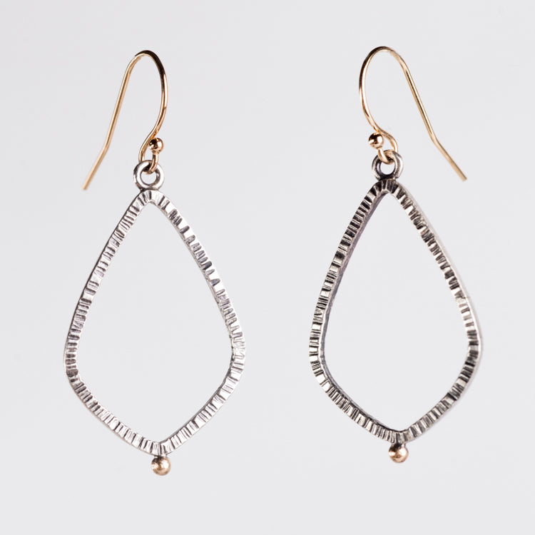 Orion Textured Teardrop Hoops in 14k Gold & Silver, Small