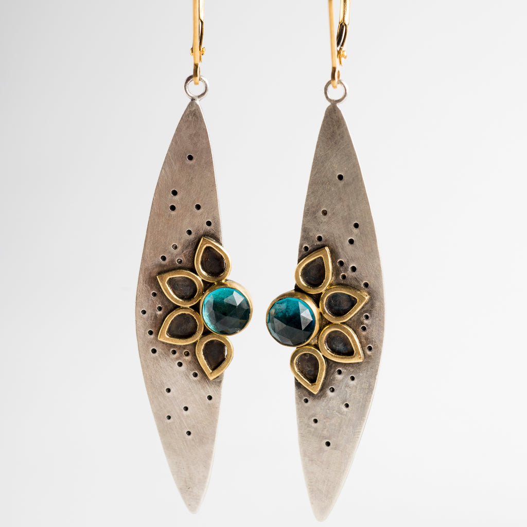 Jasmin Petal Noir Earrings w/ London Blue Topaz in 18k Gold & Silver