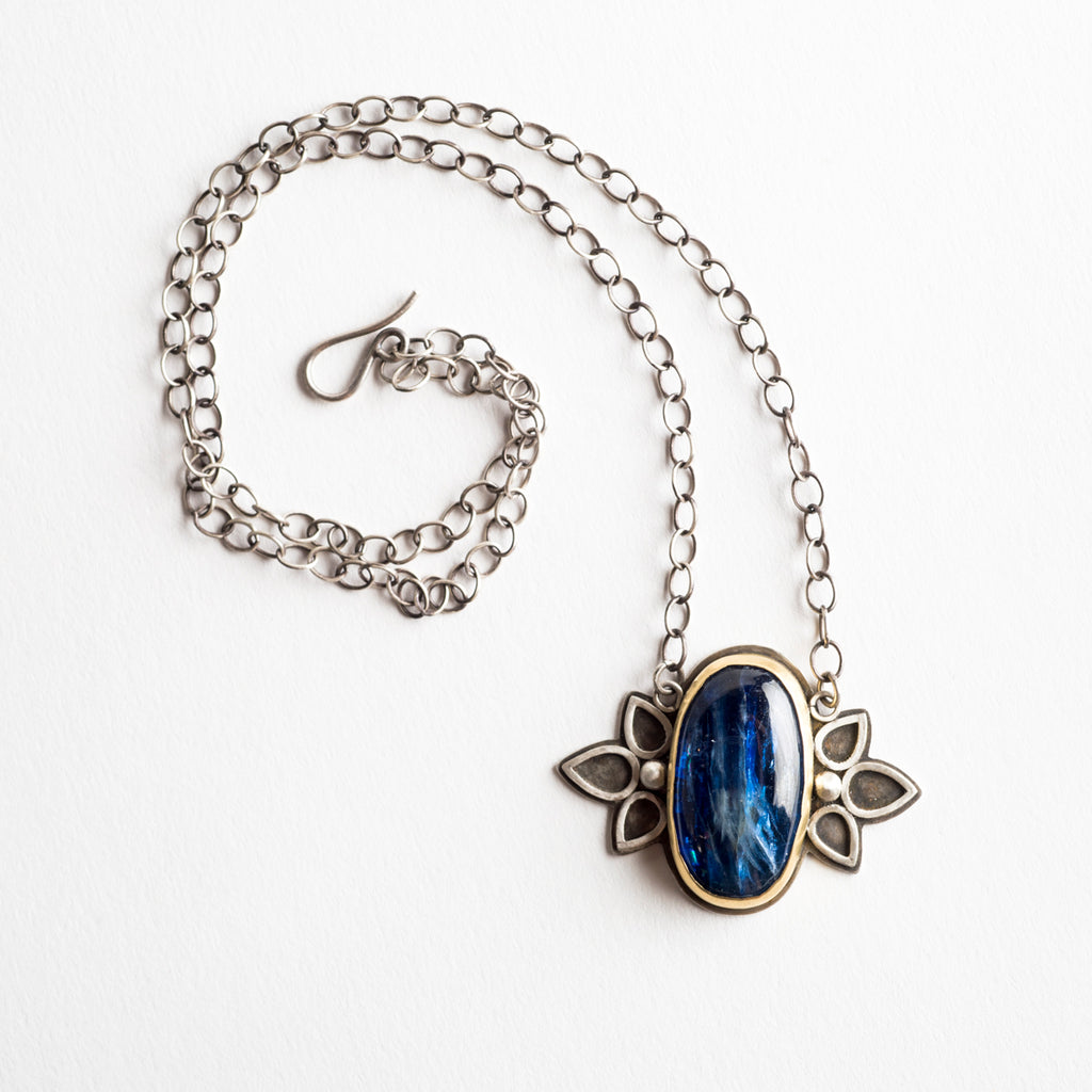 Larkspur Kyanite Necklace in 18k Gold & Silver