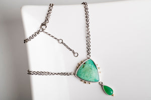 Europa Chrysoprase Necklace in Silver & 14k Gold