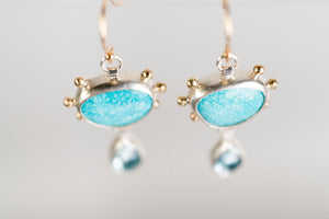 Europa Turquoise & Topaz Earrings, 14k Gold & Silver