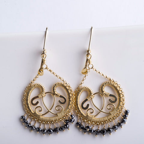 Miriel Small Chandelier Earrings w/ Black Diamond