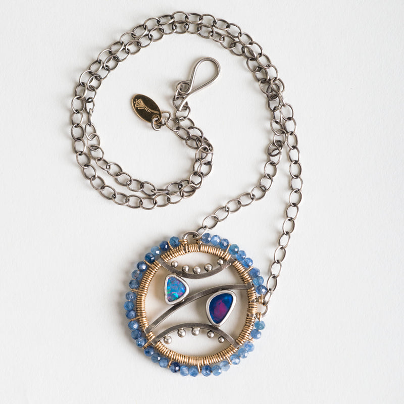 Eos Opal & Kyanite Medallion Necklace in Silver, Gold-filled