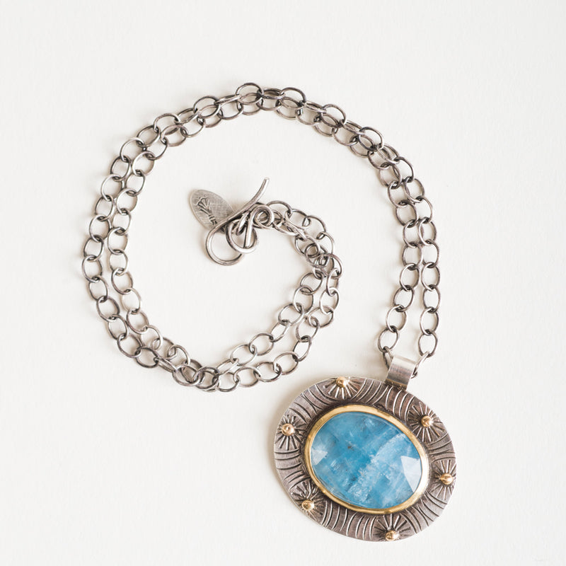 Galway Aquamarine Necklace in 18k Gold & Stamped Silver