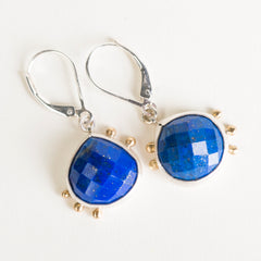 Hailey Lapis Dangles in Silver and Gold