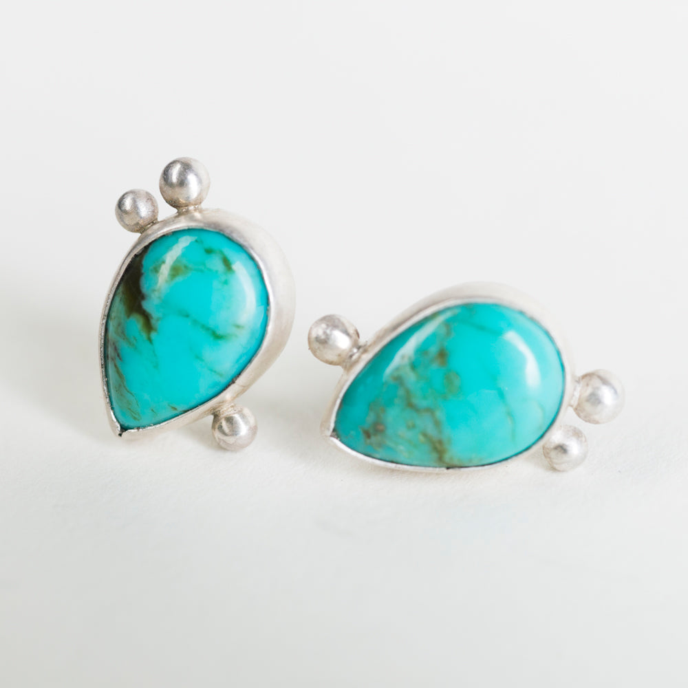 Hailey Turquoise in Silver Studs