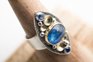 Odiel Kyanite Marquise Ring in 18k Gold & Silver