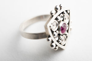 Anemone Pink Tourmaline Ring in Sterling Silver - Made to Order