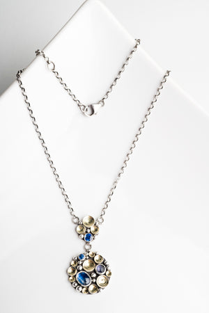 Avon Kyanite Seascape Necklace in Silver and 18k Gold, Royal Blue
