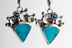 Naiad Turquoise & Blue Topaz Seascape Earrings in Silver
