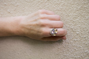 Poseidon Pink Amethyst & Tourmaline Seascape Ring in Silver, 18k Gold