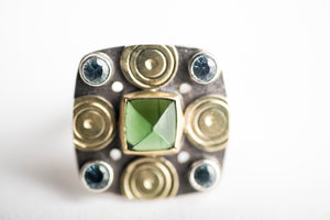 Catalonia Green Tourmaline & Sapphire Ring in 18k Gold and Silver
