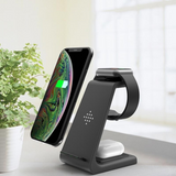 Wireless Charger Stand with Adapter, 3 in 1 10W Qi Fast Charging Dock Station Compatible with iPhone SE 2020/11 Pro/XR/8 Plus/Airpods 2/Pro/Apple Watch Series SE/6/5/4/3/2