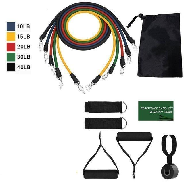 11Pcs Fitness Resistance Band Set