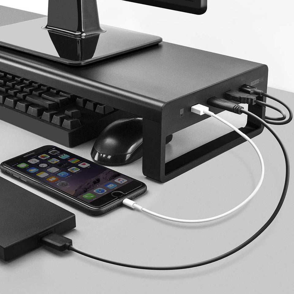 Premium Aluminum Monitor Stand With 3.0 Wireless Charger