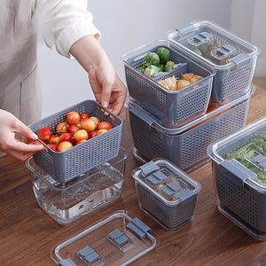 Kitchen Plastic Storage Box Fresh-Keeping Box Refrigerator Fruit Vegetable Drain Crisper Kitchen Storage Containers With Lid