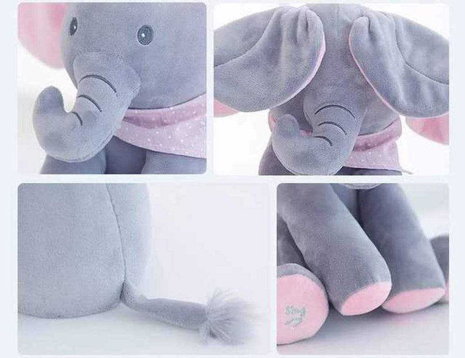 Baby Peek A Boo Animated Singing Elephant Flappy Plush Toy